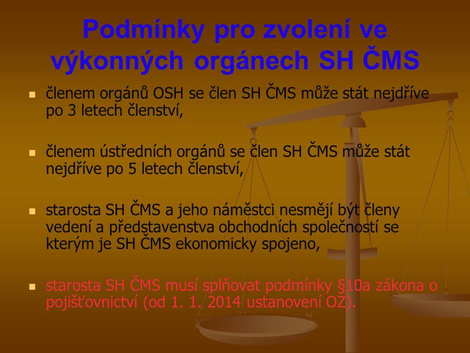 Podmínky pro zvolení ve výkonných orgánech SH ČMS