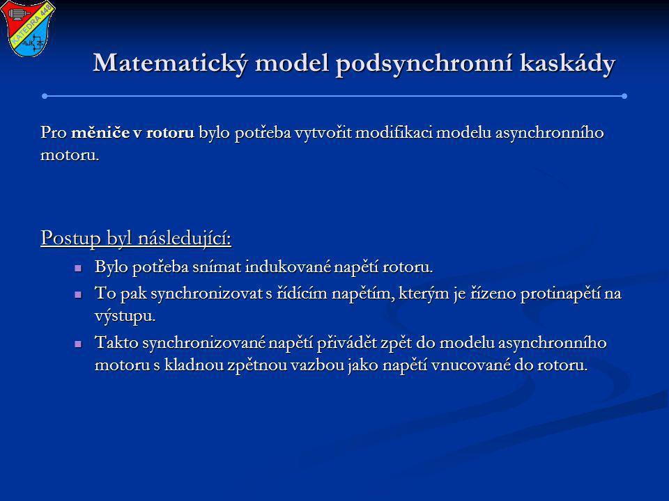 Matematický model podsynchronní kaskády