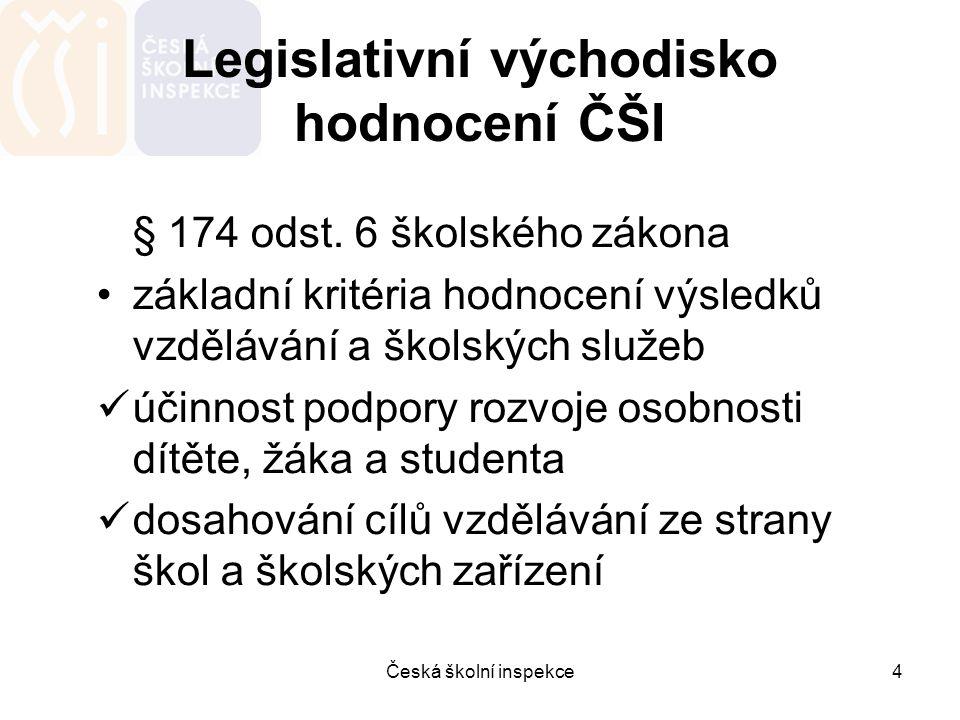 Legislativní východisko hodnocení ČŠI