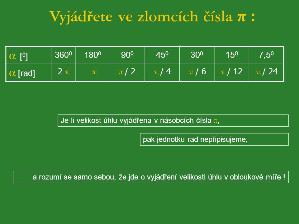 Vyjádřete ve zlomcích čísla π :
