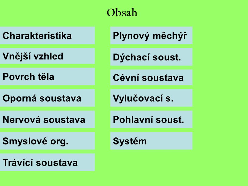 Obsah Charakteristika Plynový měchýř Vnější vzhled Dýchací soust.