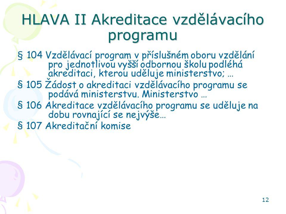 HLAVA II Akreditace vzdělávacího programu
