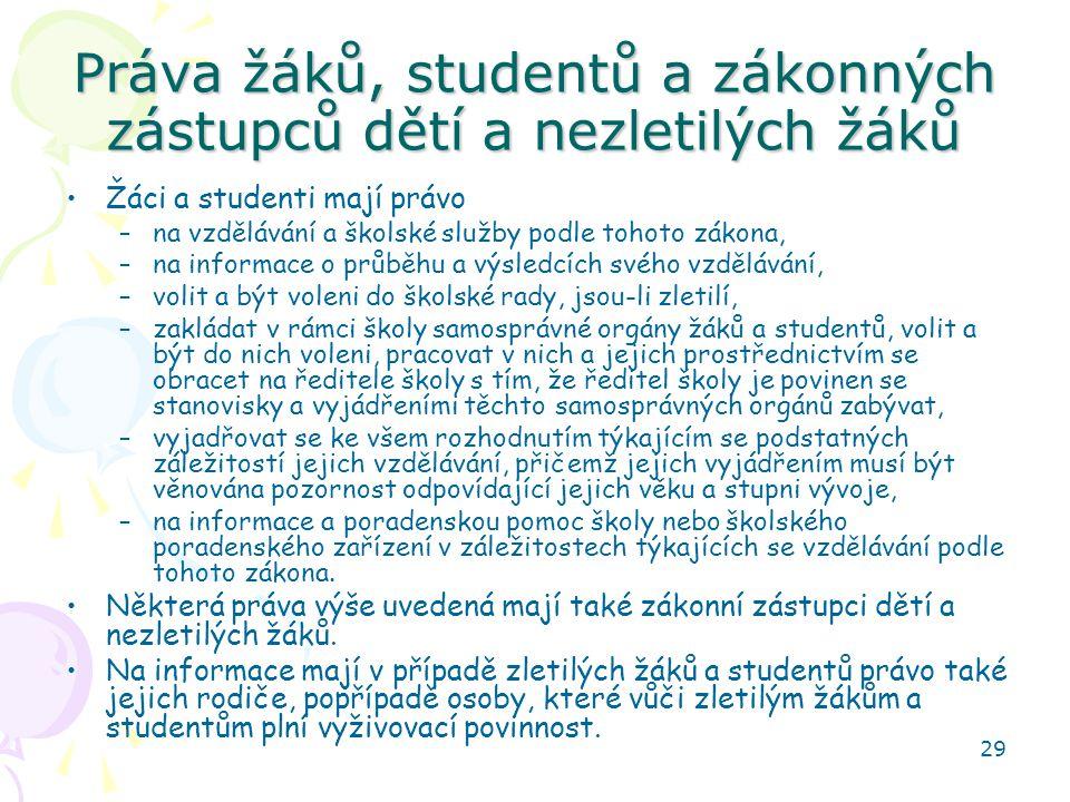 Práva žáků, studentů a zákonných zástupců dětí a nezletilých žáků