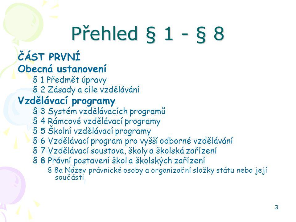 Přehled § 1 - § 8 ČÁST PRVNÍ Obecná ustanovení Vzdělávací programy