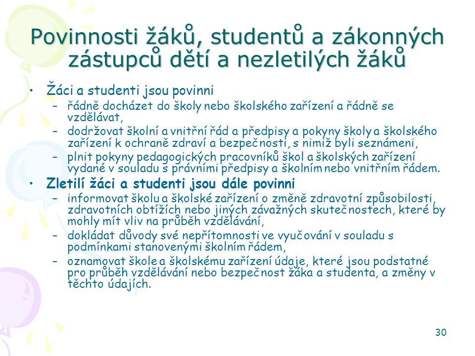 Povinnosti žáků, studentů a zákonných zástupců dětí a nezletilých žáků