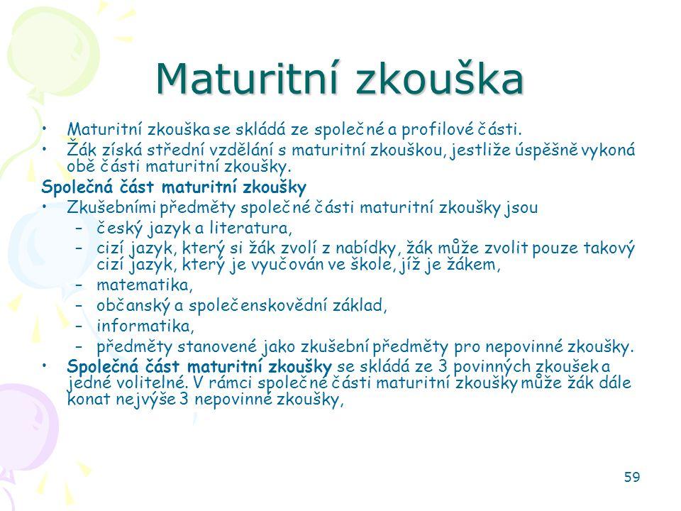 Maturitní zkouška Maturitní zkouška se skládá ze společné a profilové části.
