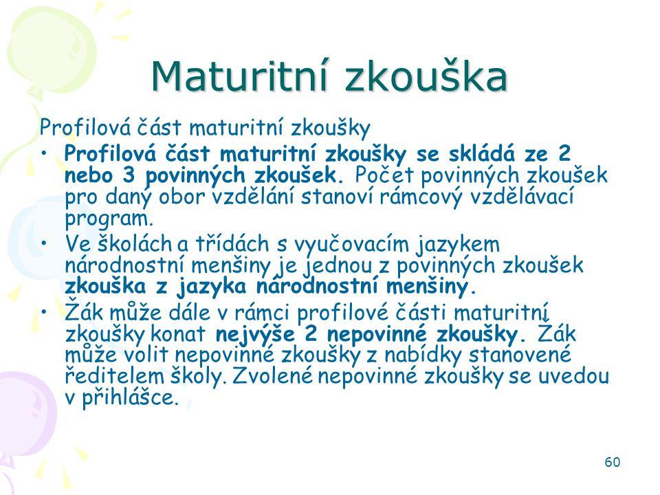 Maturitní zkouška Profilová část maturitní zkoušky