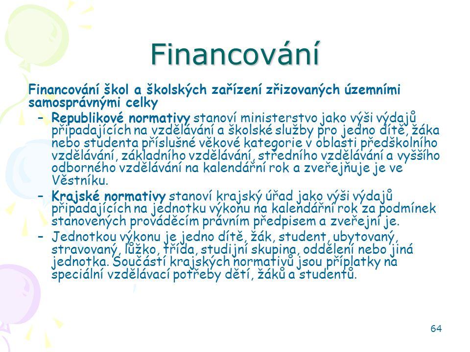 Financování Financování škol a školských zařízení zřizovaných územními samosprávnými celky.