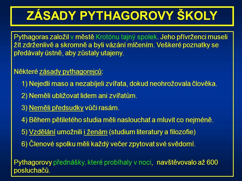 ZÁSADY PYTHAGOROVY ŠKOLY