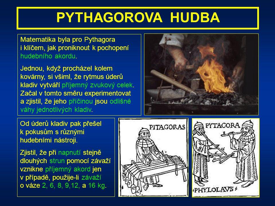 PYTHAGOROVA HUDBA Matematika byla pro Pythagora i klíčem, jak proniknout k pochopení hudebního akordu.