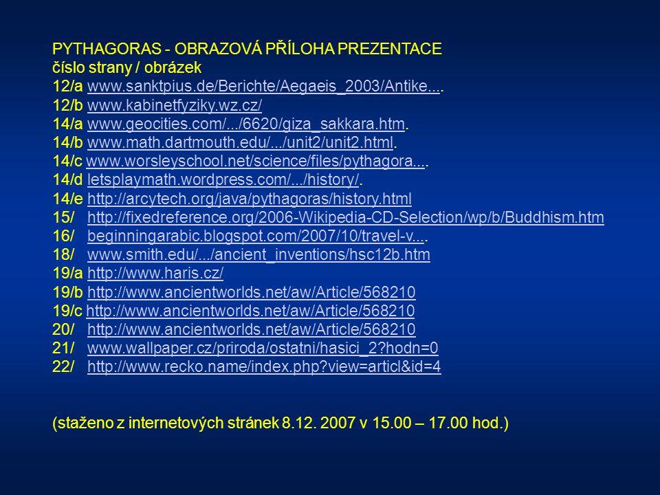PYTHAGORAS - OBRAZOVÁ PŘÍLOHA PREZENTACE