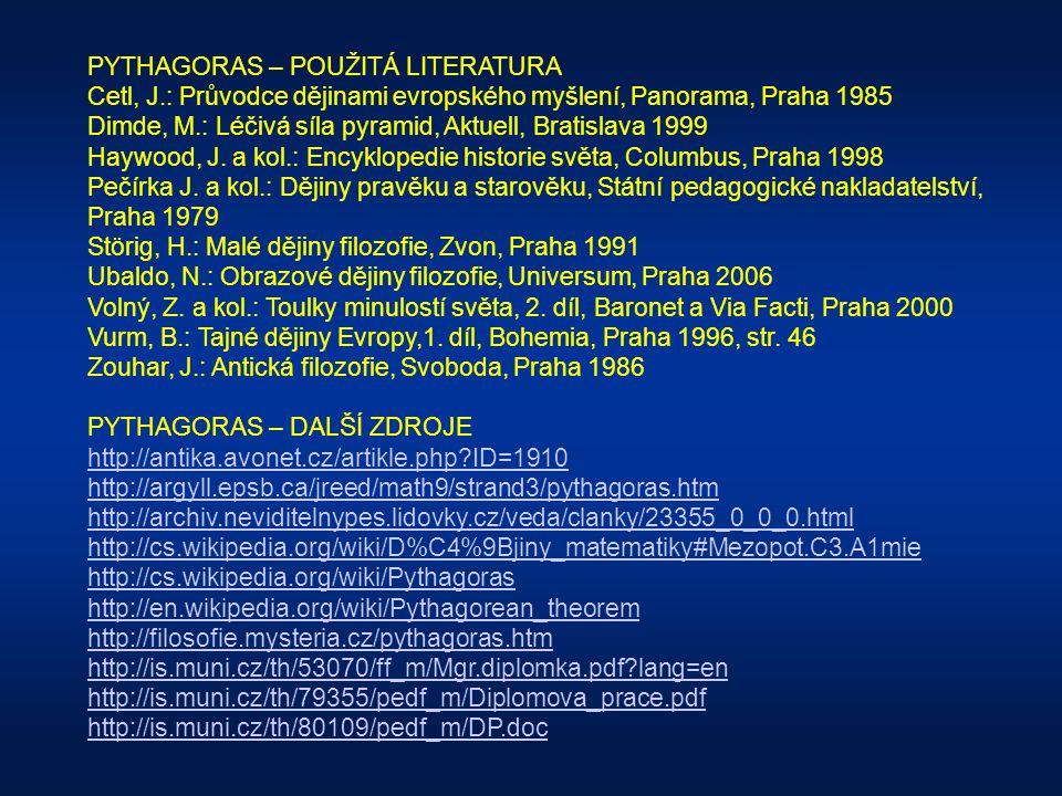 PYTHAGORAS – POUŽITÁ LITERATURA