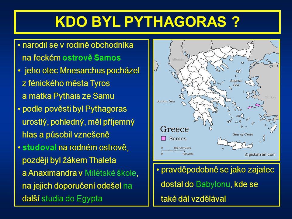 KDO BYL PYTHAGORAS narodil se v rodině obchodníka