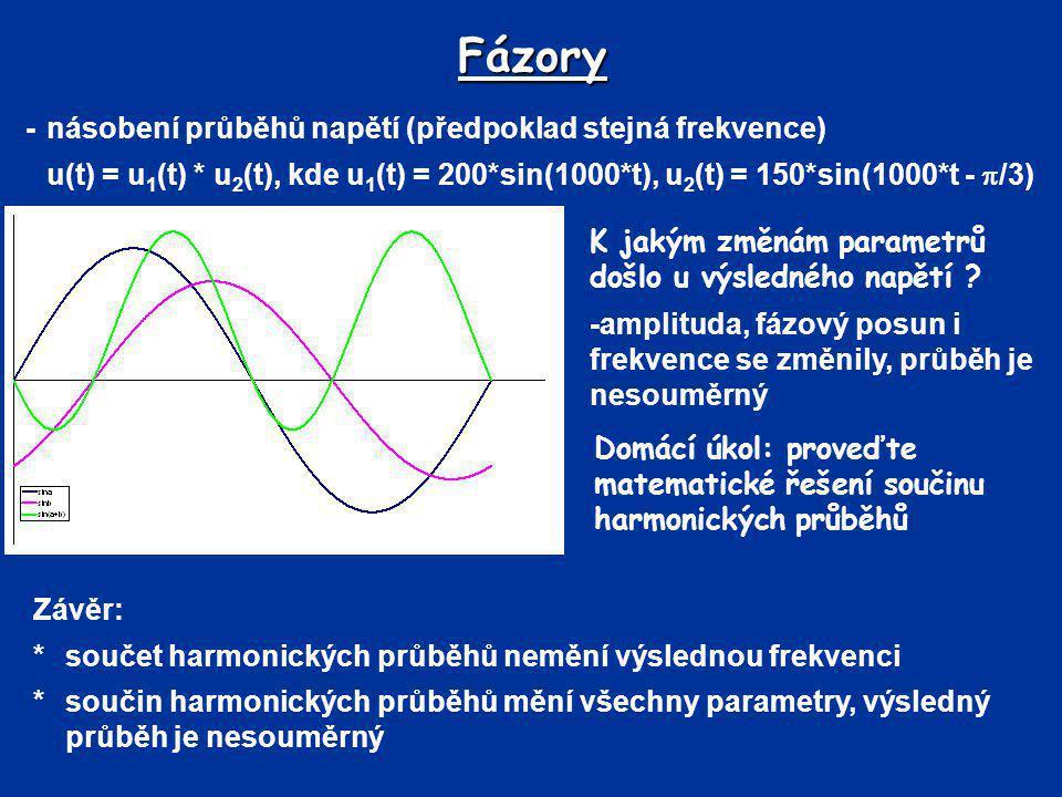 Fázory - násobení průběhů napětí (předpoklad stejná frekvence)
