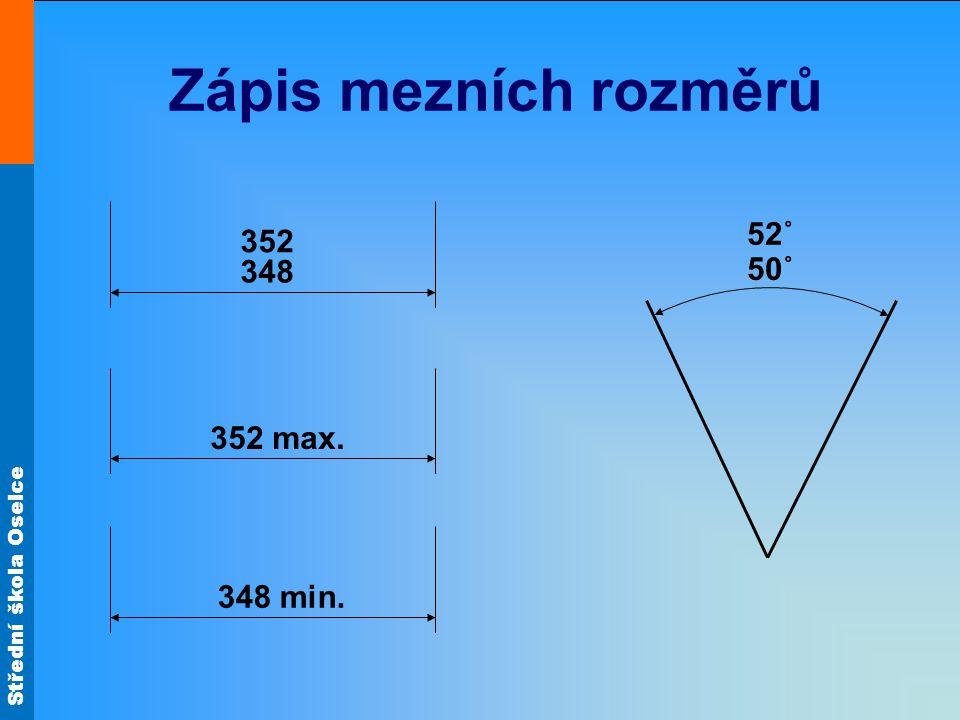 Zápis mezních rozměrů 52˚ 352 348 50˚ 352 max. 348 min.