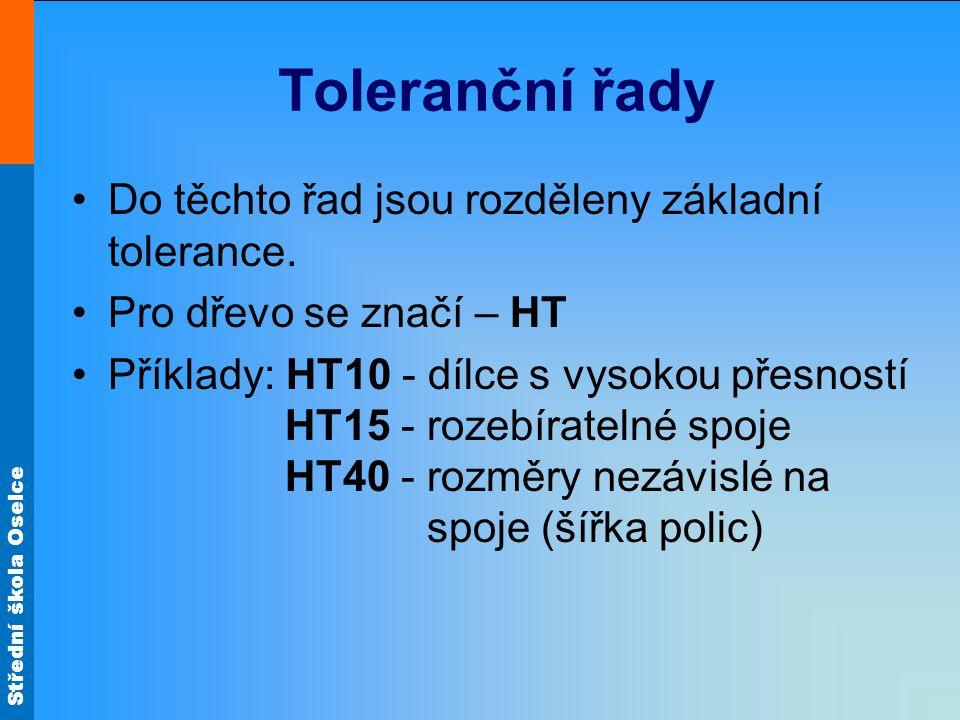 Toleranční řady Do těchto řad jsou rozděleny základní tolerance.