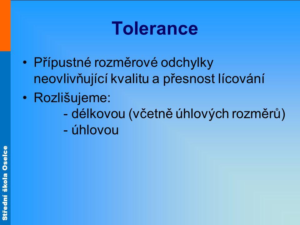 Tolerance Přípustné rozměrové odchylky neovlivňující kvalitu a přesnost lícování.