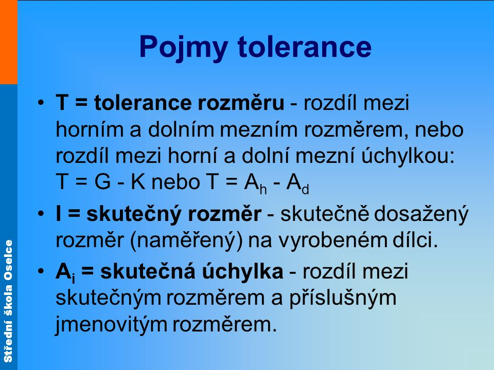 Pojmy tolerance