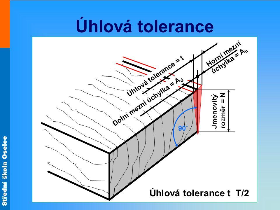 Úhlová tolerance Úhlová tolerance t T/2 Horní mezní úchylka = Ah