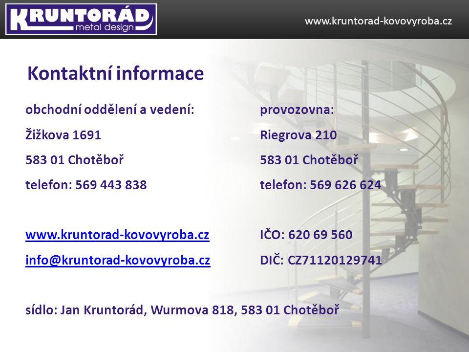 Kontaktní informace obchodní oddělení a vedení: provozovna:
