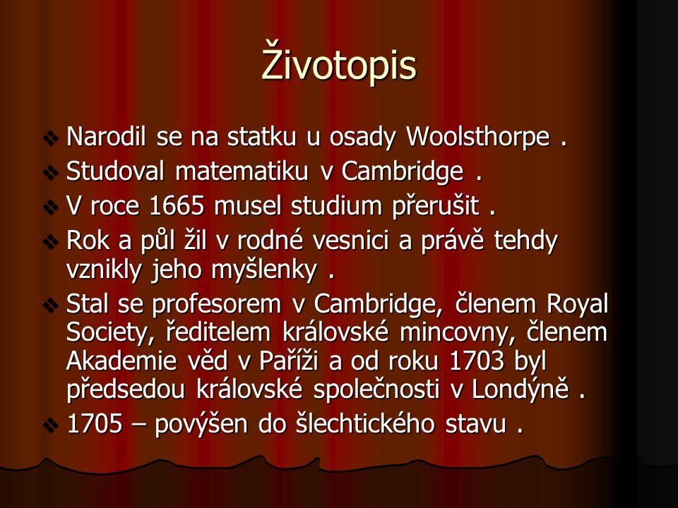 Životopis Narodil se na statku u osady Woolsthorpe .