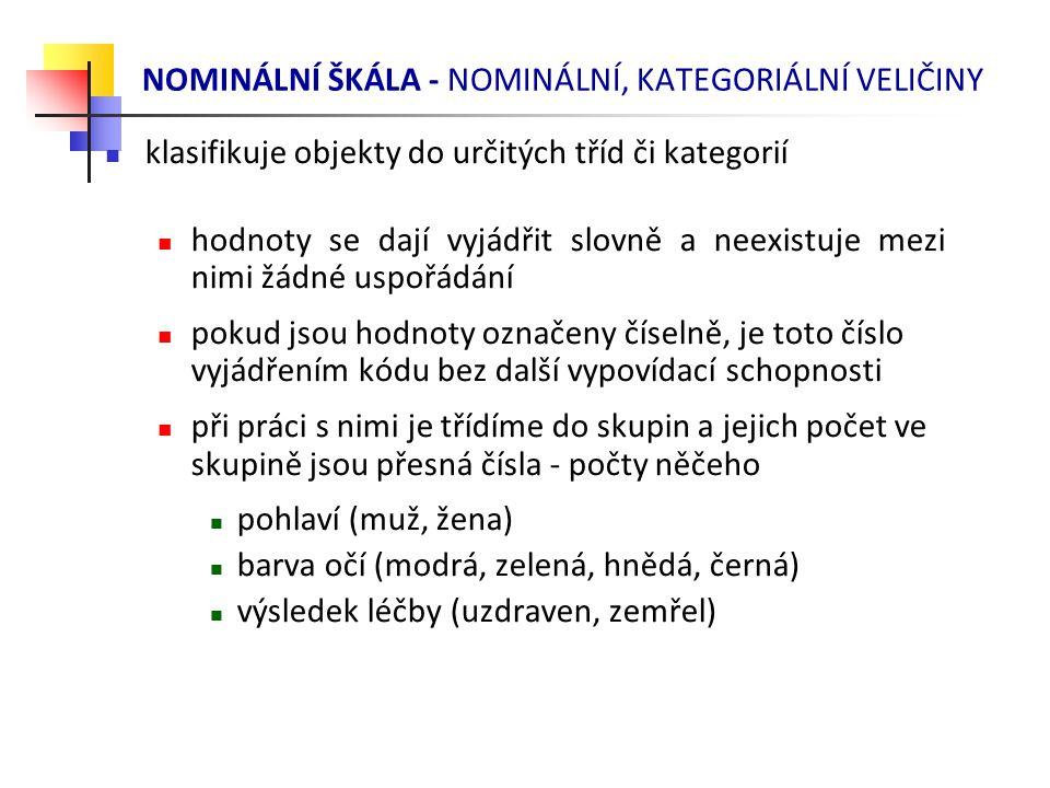 NOMINÁLNÍ ŠKÁLA - NOMINÁLNÍ, KATEGORIÁLNÍ VELIČINY