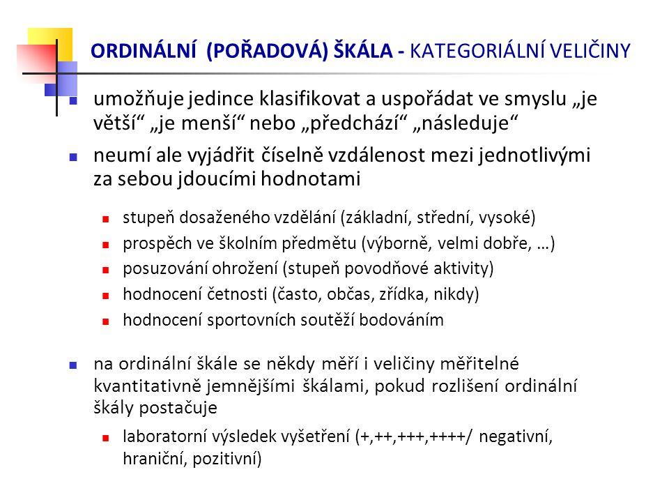 ORDINÁLNÍ (POŘADOVÁ) ŠKÁLA - KATEGORIÁLNÍ VELIČINY