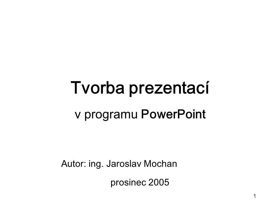 Tvorba prezentací v programu PowerPoint Autor: ing. Jaroslav Mochan