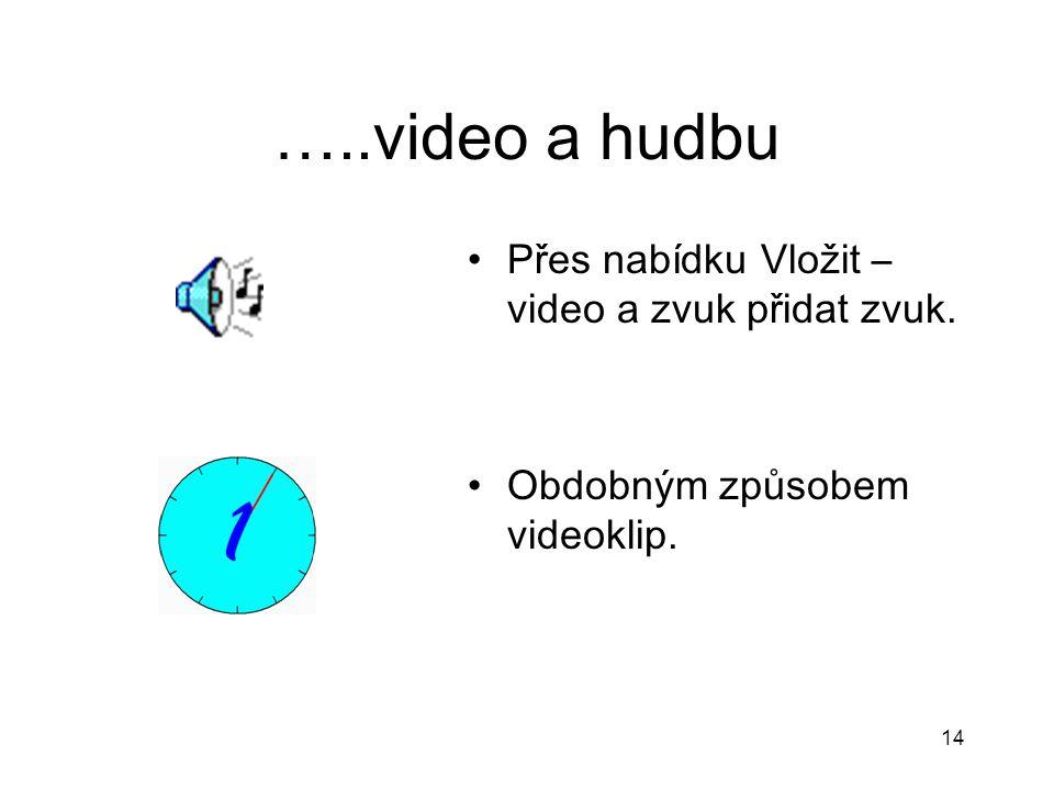 …..video a hudbu Přes nabídku Vložit –video a zvuk přidat zvuk.