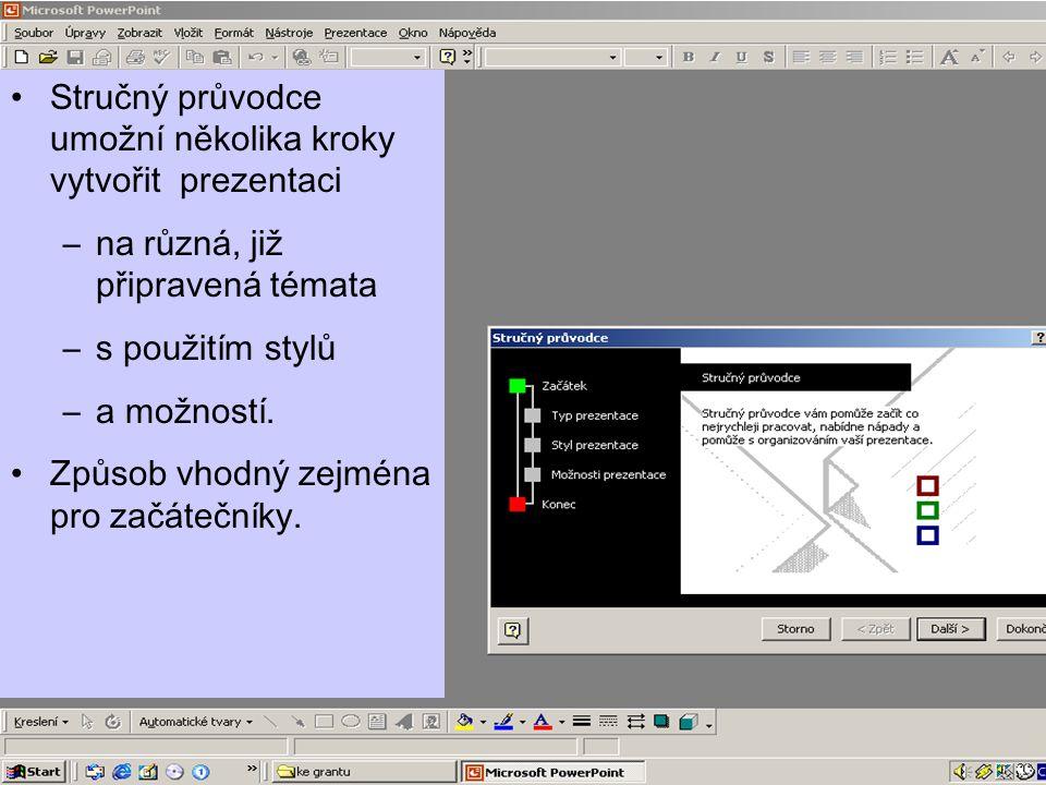 Stručný průvodce umožní několika kroky vytvořit prezentaci
