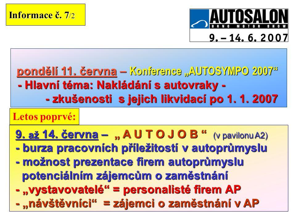 """pondělí 11. června – Konference """"AUTOSYMPO 2007"""