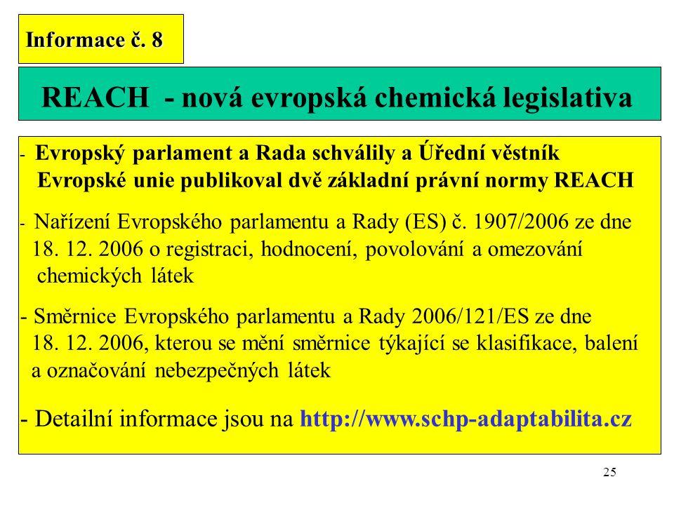 REACH - nová evropská chemická legislativa