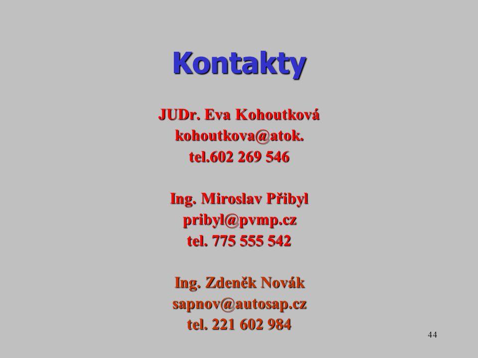 Kontakty JUDr. Eva Kohoutková kohoutkova@atok. tel.602 269 546