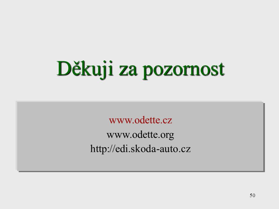 Děkuji za pozornost www.odette.cz www.odette.org