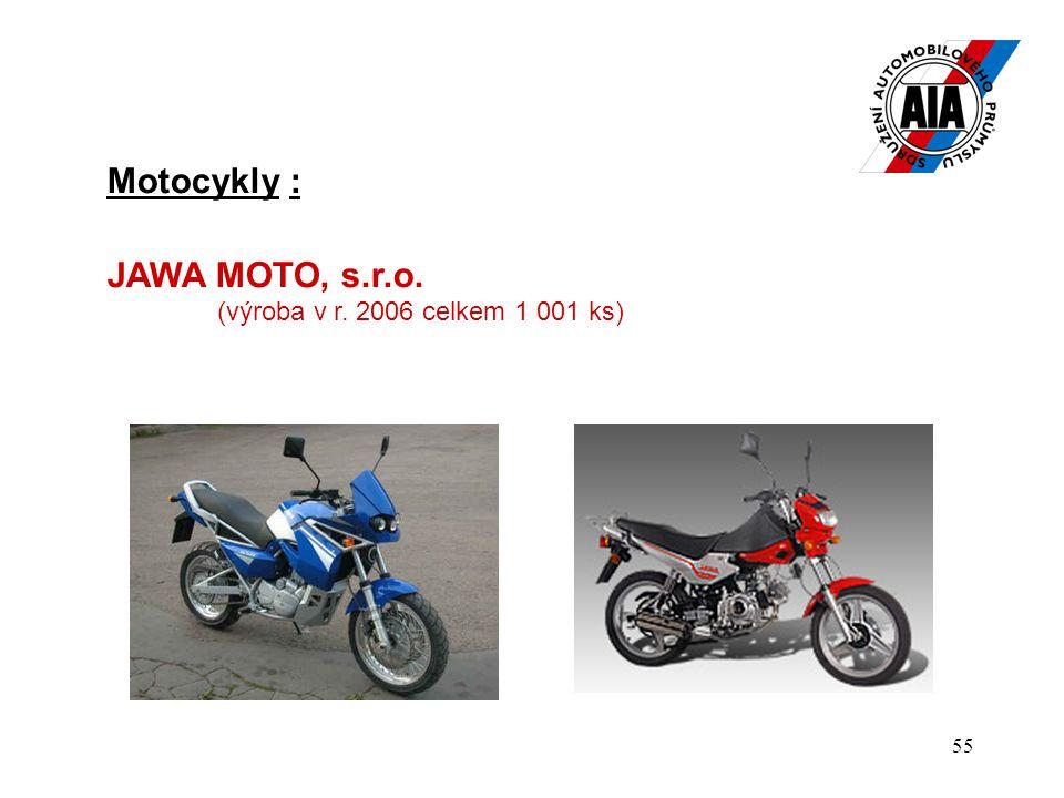 Motocykly : JAWA MOTO, s.r.o. (výroba v r. 2006 celkem 1 001 ks)