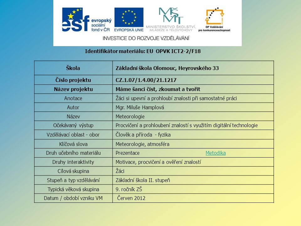Identifikátor materiálu: EU OPVK ICT2-2/F18