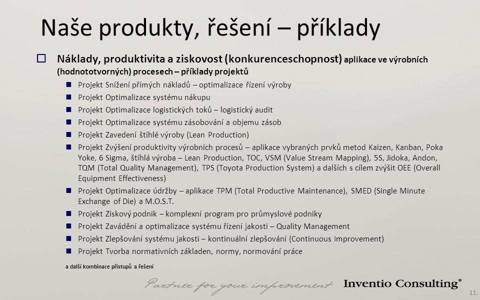Naše produkty, řešení – příklady