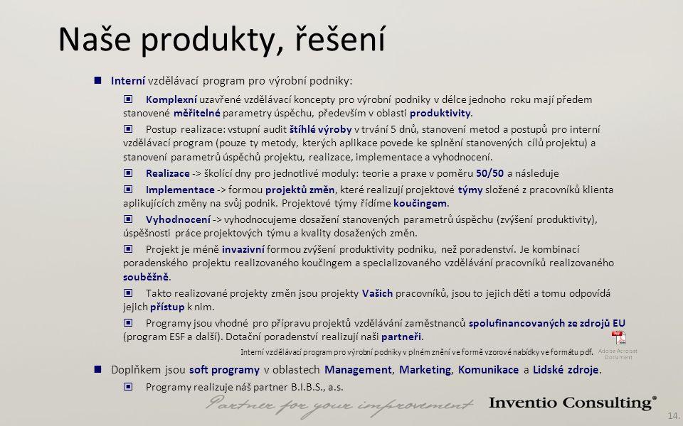 Naše produkty, řešení Interní vzdělávací program pro výrobní podniky: