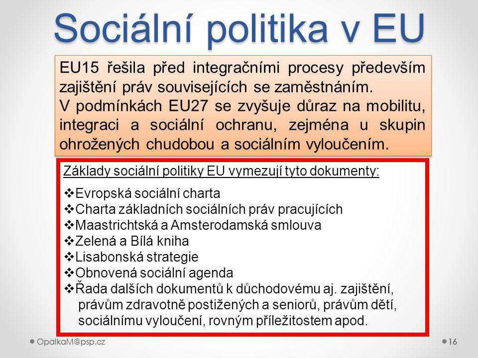 Sociální politika v EU EU15 řešila před integračními procesy především zajištění práv souvisejících se zaměstnáním.