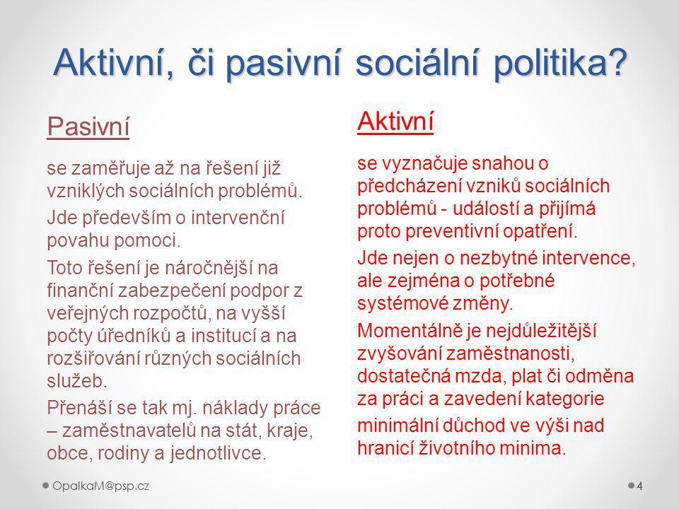 Aktivní, či pasivní sociální politika