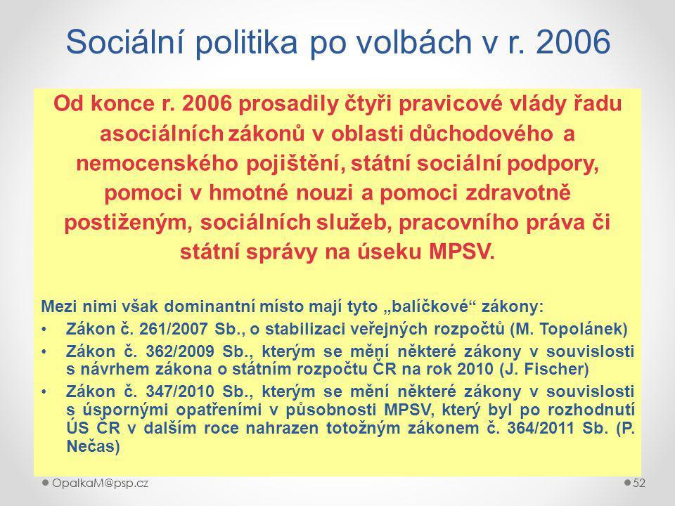 Sociální politika po volbách v r. 2006