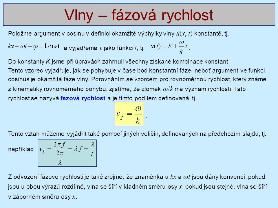 Vlny – fázová rychlost Položme argument v cosinu v definici okamžité výchylky vlny u(x, t) konstantě, tj.