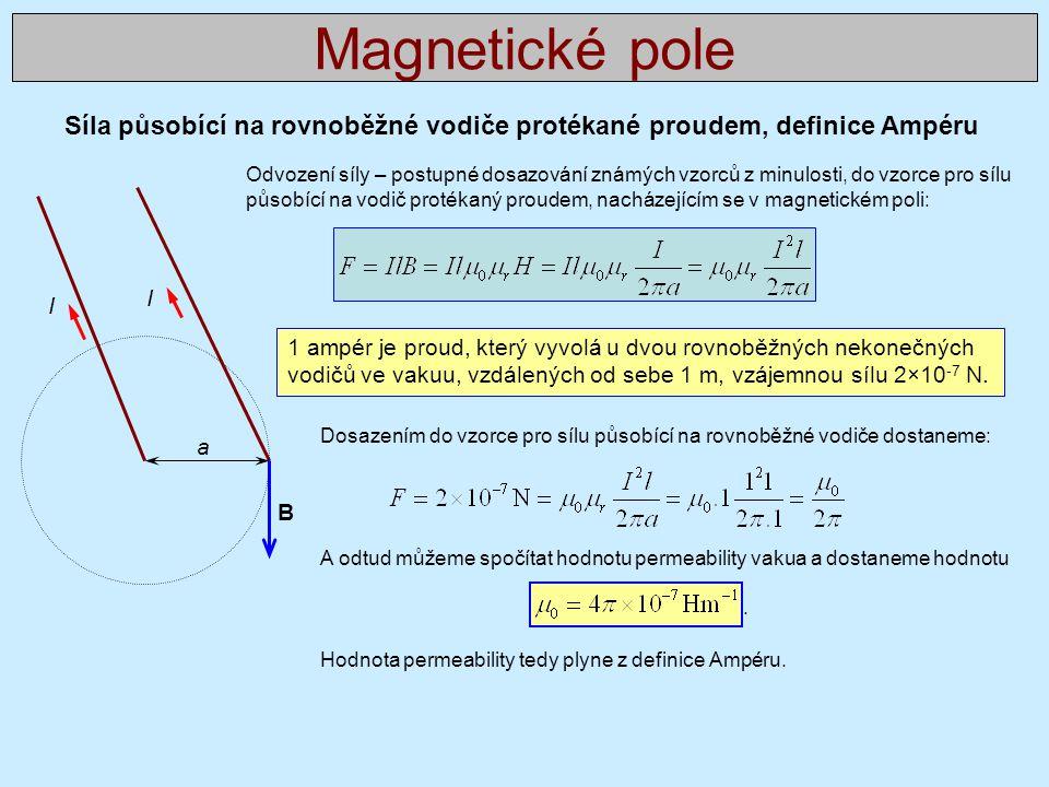 Magnetické pole Síla působící na rovnoběžné vodiče protékané proudem, definice Ampéru.