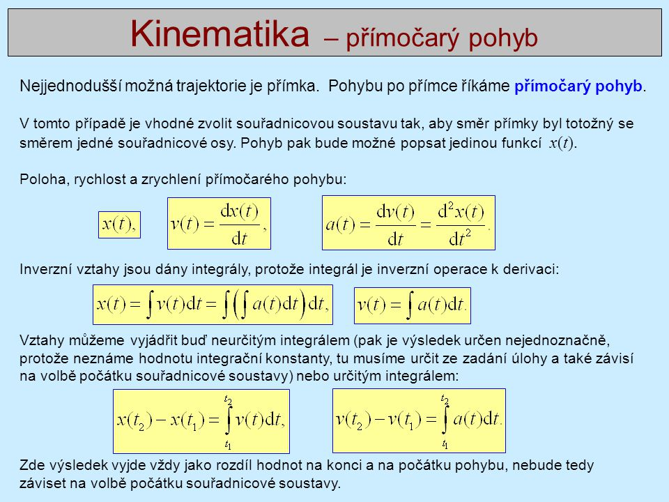 Kinematika – přímočarý pohyb