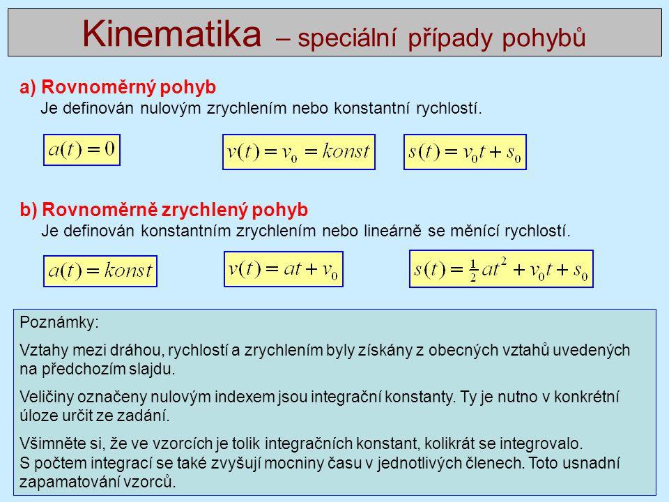 Kinematika – speciální případy pohybů