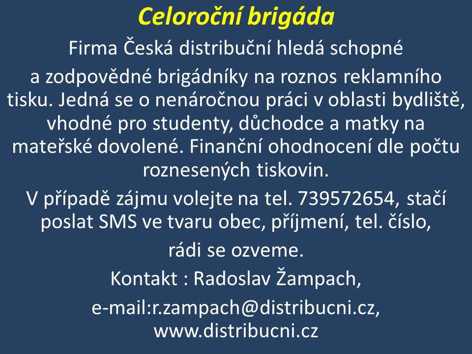 Celoroční brigáda Firma Česká distribuční hledá schopné