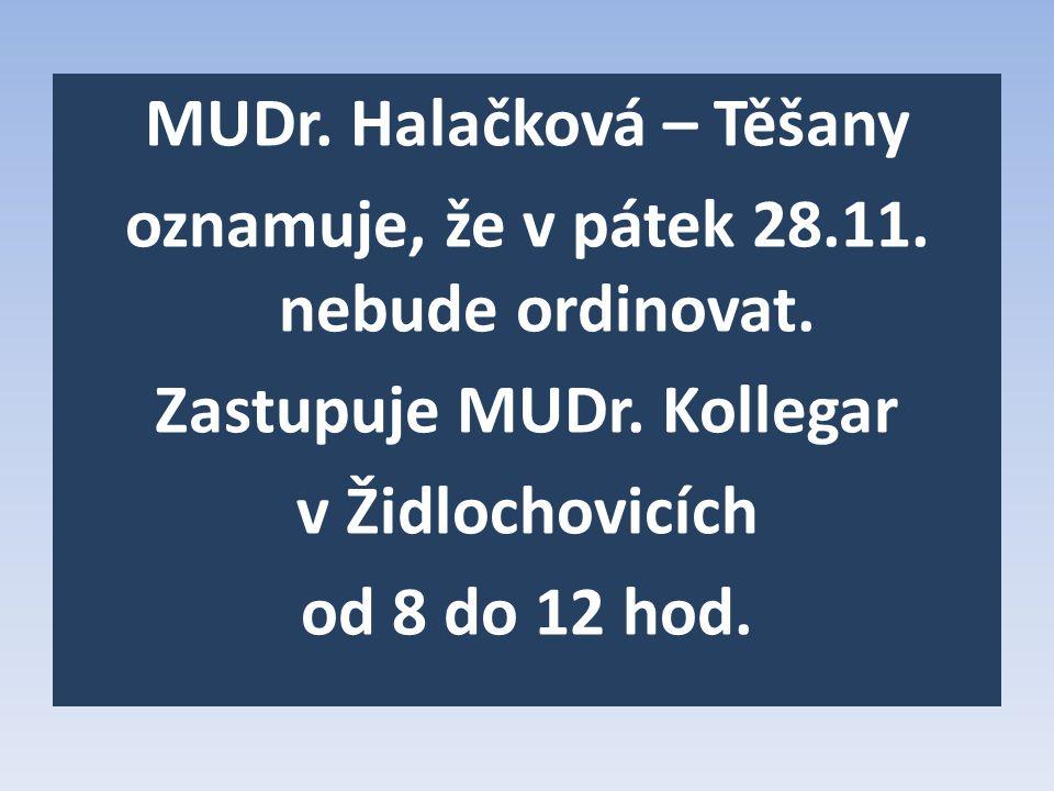 MUDr. Halačková – Těšany oznamuje, že v pátek 28. 11. nebude ordinovat