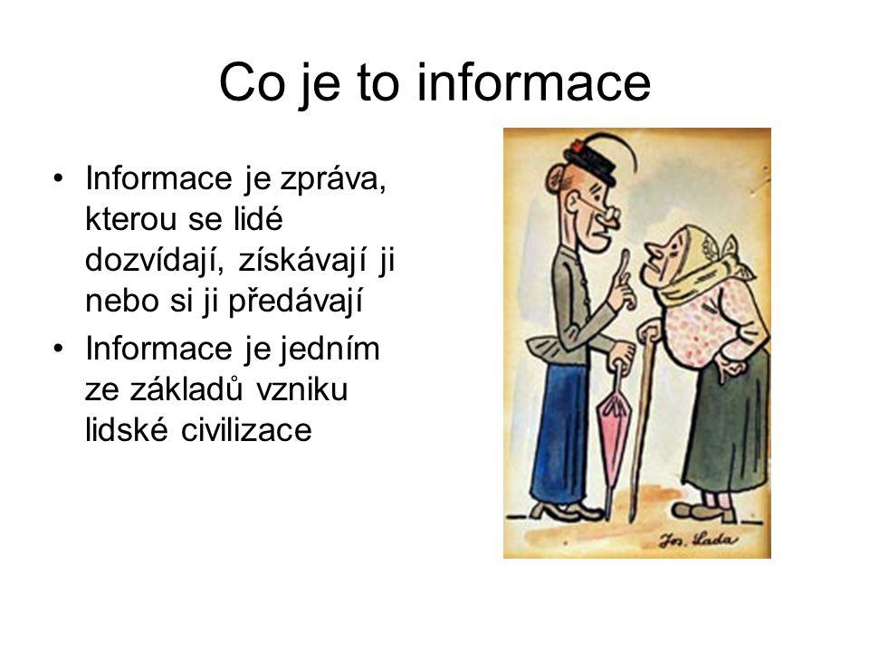 Co je to informace Informace je zpráva, kterou se lidé dozvídají, získávají ji nebo si ji předávají.