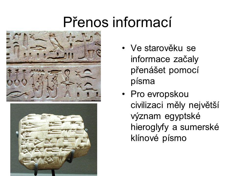 Přenos informací Ve starověku se informace začaly přenášet pomocí písma.