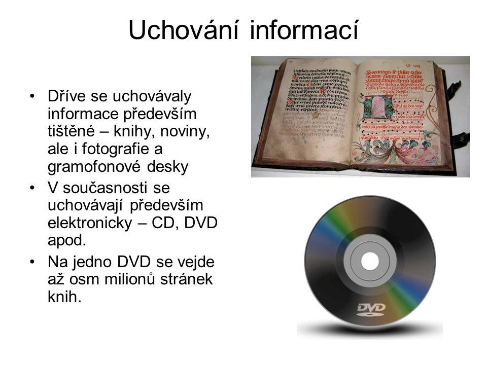 Uchování informací Dříve se uchovávaly informace především tištěné – knihy, noviny, ale i fotografie a gramofonové desky.
